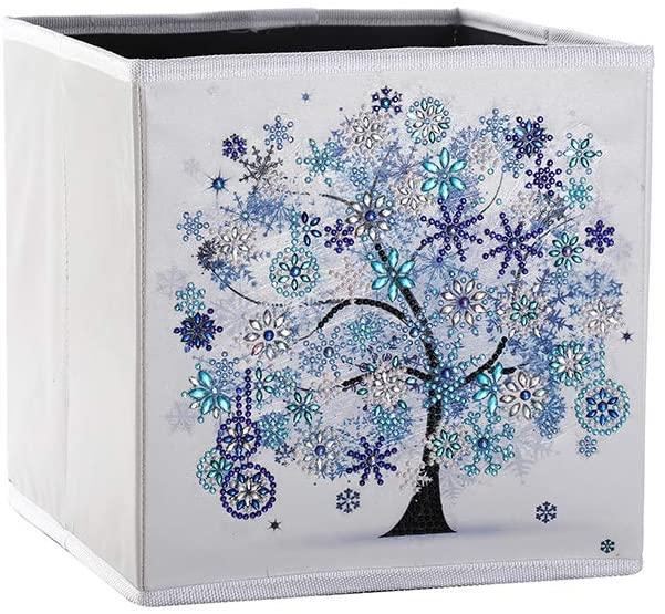 Shelf Storage Bin Basket Organizer. DIY Diamond Painting Kit with Sparkle Special Shape Diamond Drills (1 bin-Blue)