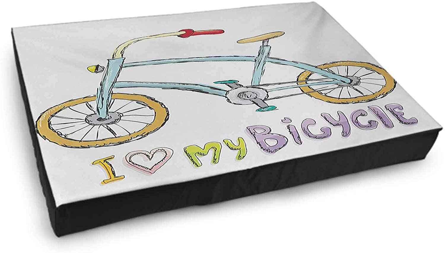 Interestlee Washable Dog Bed Bicycle Hand Drawn Penny Farthing Tandem and City Bikes with Colored Rims Cartoon Style Multicolor
