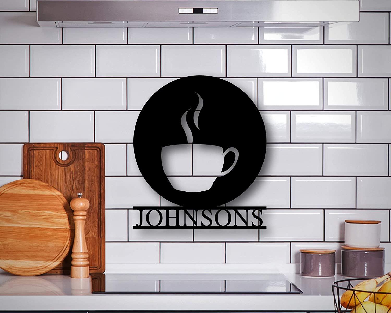 PotteLove Personalized Kitchen Coffee Sign, Metal Coffee Cup Sign, Custom Coffee Sign, Metal Family Name Sign, Last Name Sign, Metal Wall Art, Wall Art Decor 24 Inch
