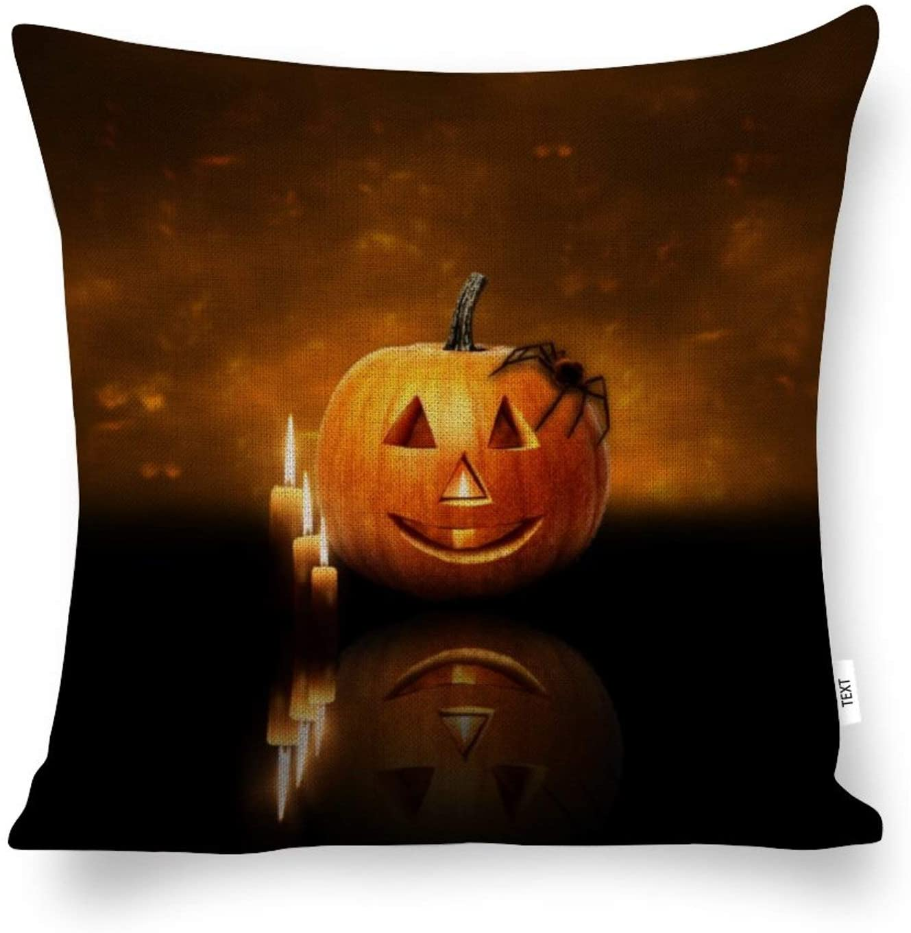 AILOVYO Decorative Cotton and Hemp Throw Pillow Covers Family Halloween Pumpkin Lantern and Candles for Room Bedroom Room Sofa Chair Car