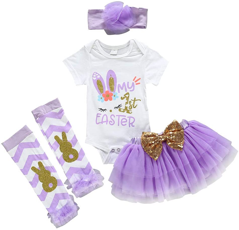 Printasaurus Outfits Clothes for Boy and Girl, Newborn Infant Baby Girls Easter Rabbit Bunny Romper Bodysuit Tutu Skit Set, Girls Outfits&Set