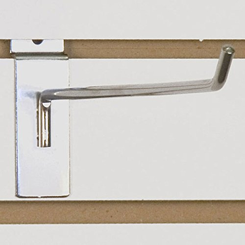 Slatwall Wire Hook in Chrome 12 L x 1/4 D Inches - Count of 50