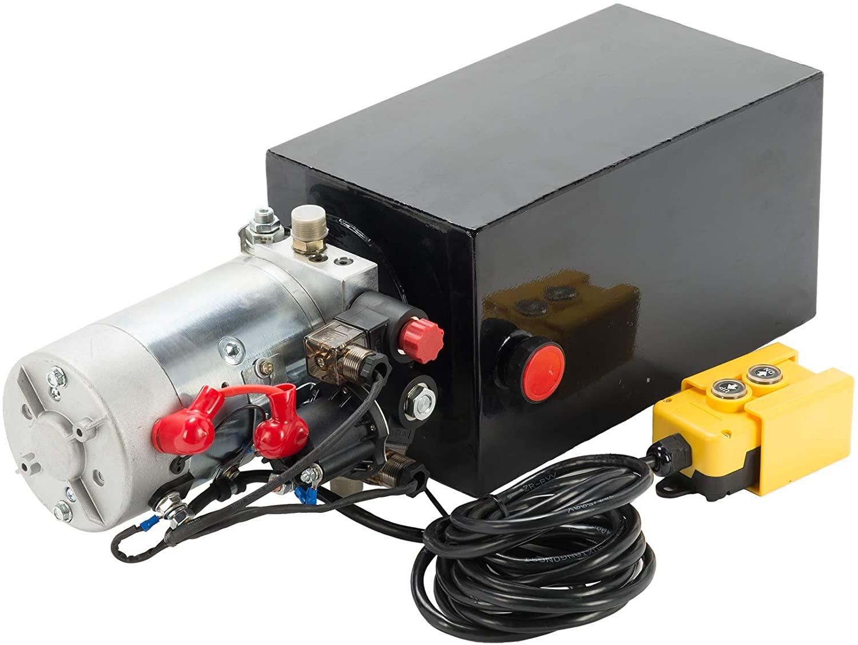 Letra Hydraulic Pump for Car Lift, 12V Double Acting Hydraulic Power Unit, 10 Quart Hydraulic Pump with Steel Reservoir for Car Dump Truck Trailer Lift