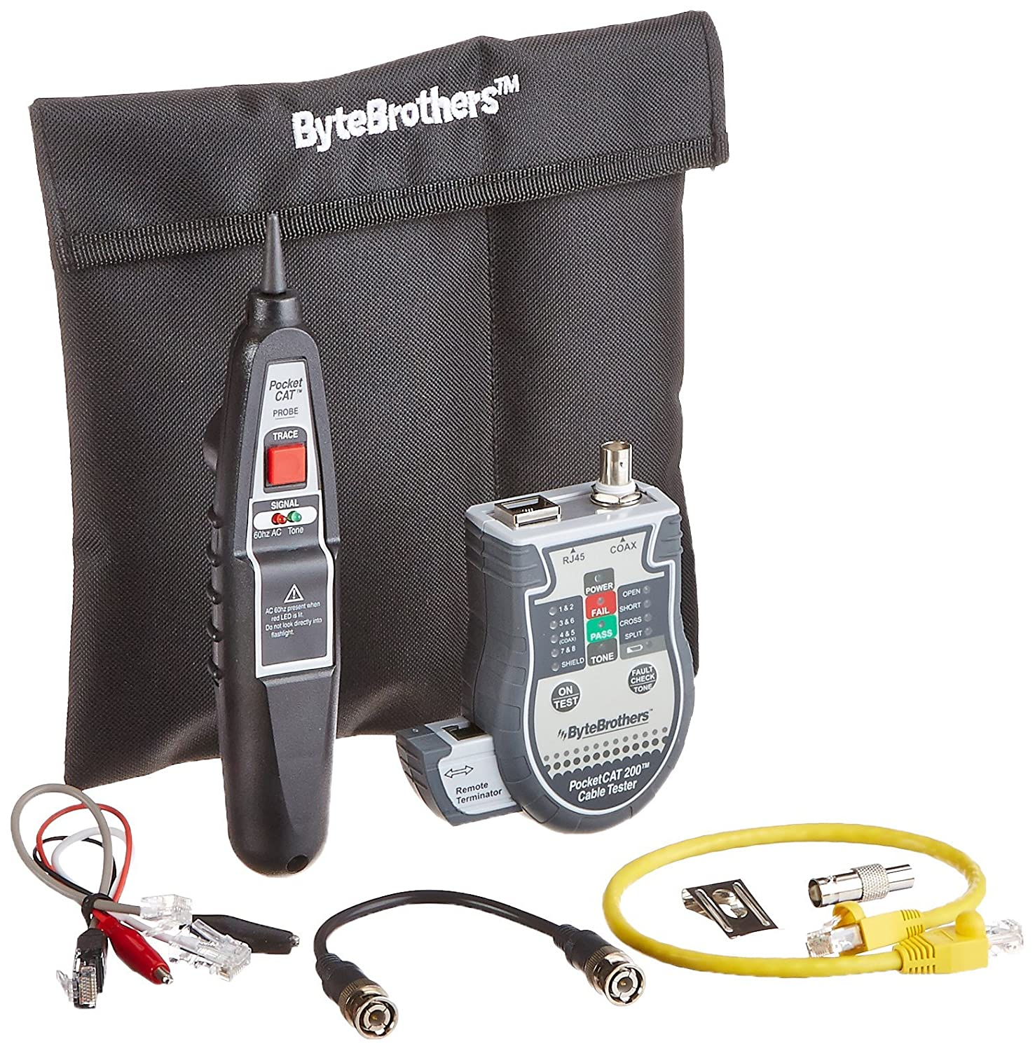 Triplett Byte Brothers Pocket CAT LAN Tester with Inductive Tone Probe for RJ45 CAT5 CAT6 & Coax Cables - Performs TIA568 Tests on CAT5/6 Network Cables with Instant Pass-Fail Results -(CTX200P)