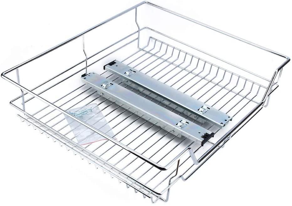 hongxinq Under Shelf Storage Basket Pull Out Sliding Basket Drawer Storage Cabinet