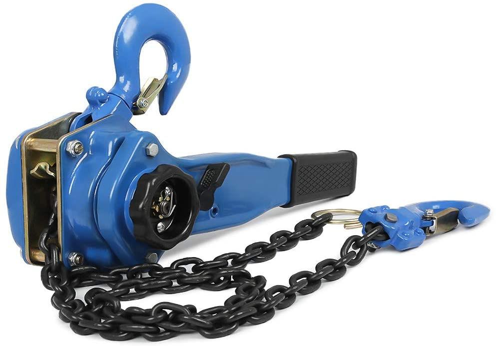 1.5T/3300lbs Lever Block Chain Hoist Ratchet Type Comealong Puller 1.5M/5ft Lift Height