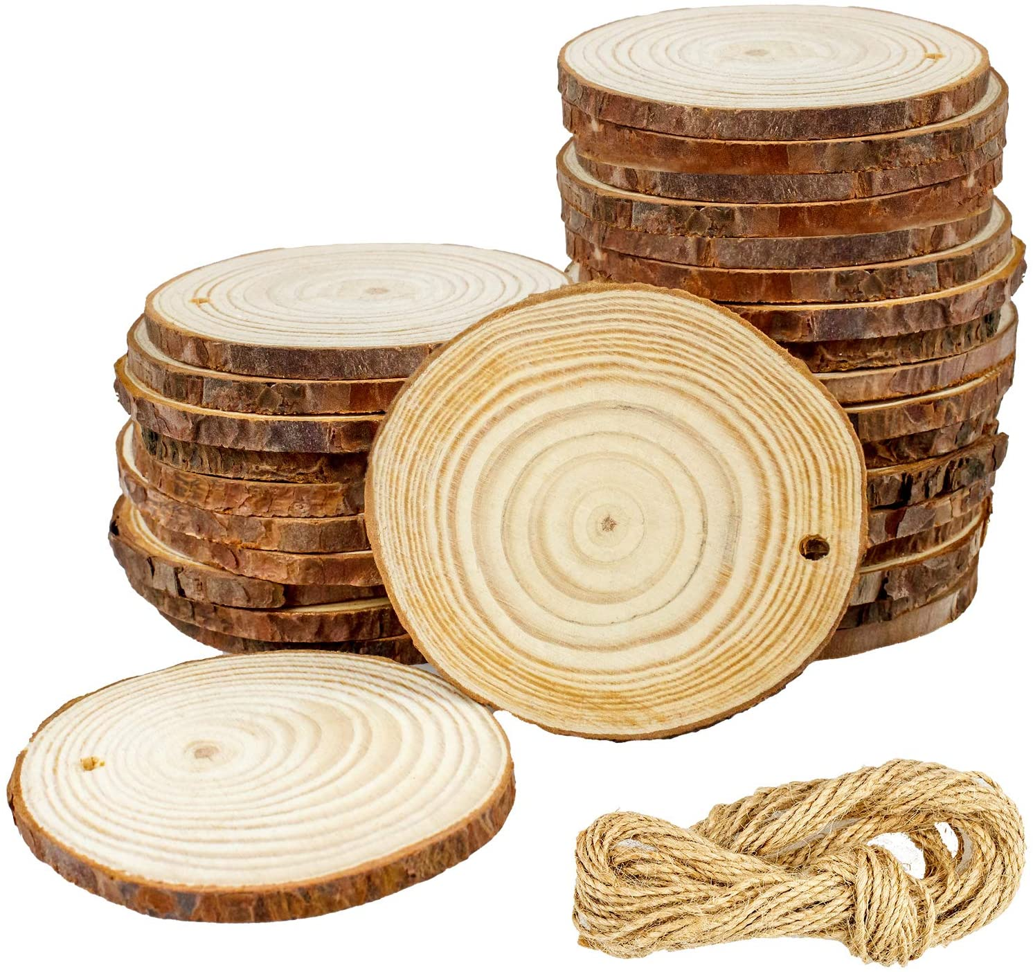 Unfinished Natural Wood Slices 30 Pcs 2.7-3.2 inch Craft Wood Circles Crafts Christmas Ornaments Rustic Wedding Decoration DIY Crafts Predrilled Natural Wooden with Bark for Crafts