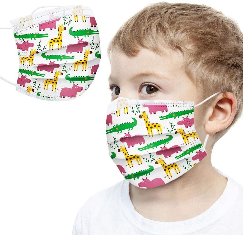 Ecnobia 3 Layer Disposable Face ṁɑşḱ, Protection, Breathable, with Comfortable Elastic Ear Loop & Crocodile, Hippo and Giraffe's Party Printed, Non-Woven Fabric, for Kids (100 Pcs)