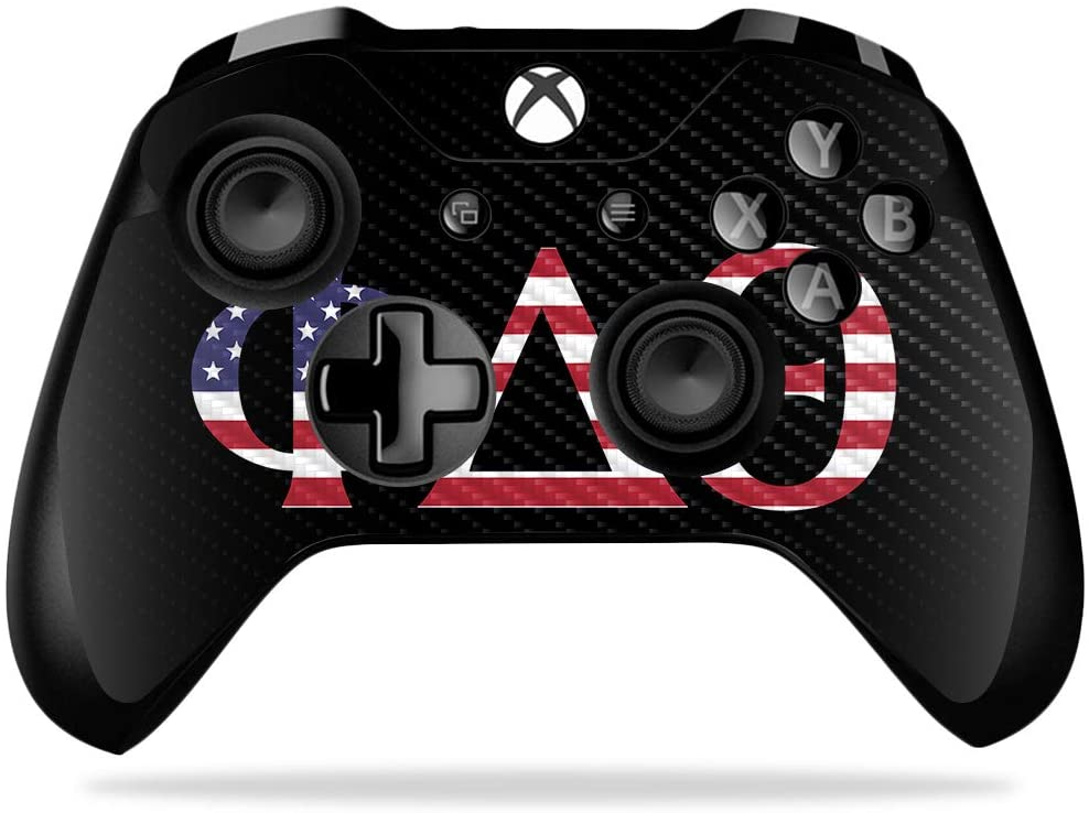 MightySkins Carbon Fiber Skin for Microsoft Xbox One X Controller - Phi Delta Theta Americana | Protective, Durable Textured Carbon Fiber Finish | Device Not Included - This Is A Skin| Made In The USA