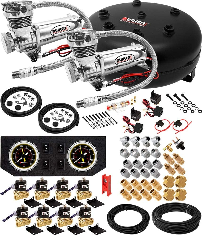 Vixen Air Suspension Kit for Truck/Car Bag/Air Ride/Spring. On Board System- Dual 200psi Compressor, 4 Gallon Tank. for Boat Lift,Towing,Lowering,Load Leveling,Onboard Train Horn VXX1208GB/4840DC