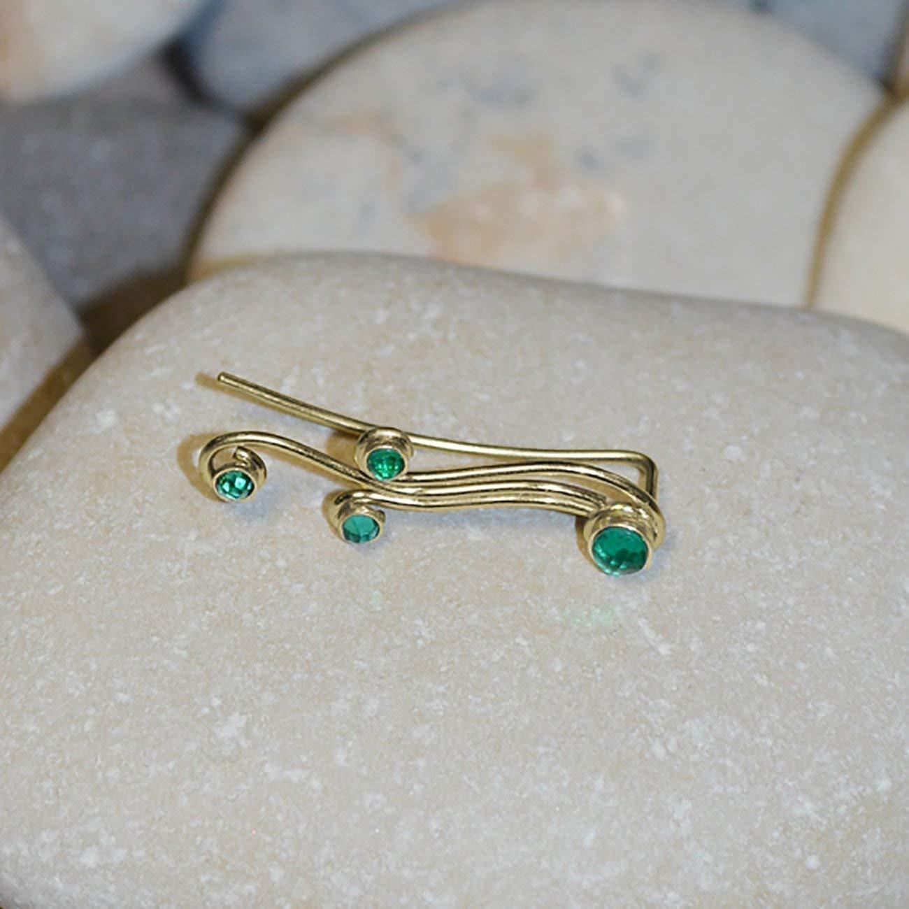 Gold Ear Climber Earring - Ear Pins - Ear Sweep - Ear Crawler - Emerald Ear Cuff - Ear Wrap Earring - Minimalist Earrings