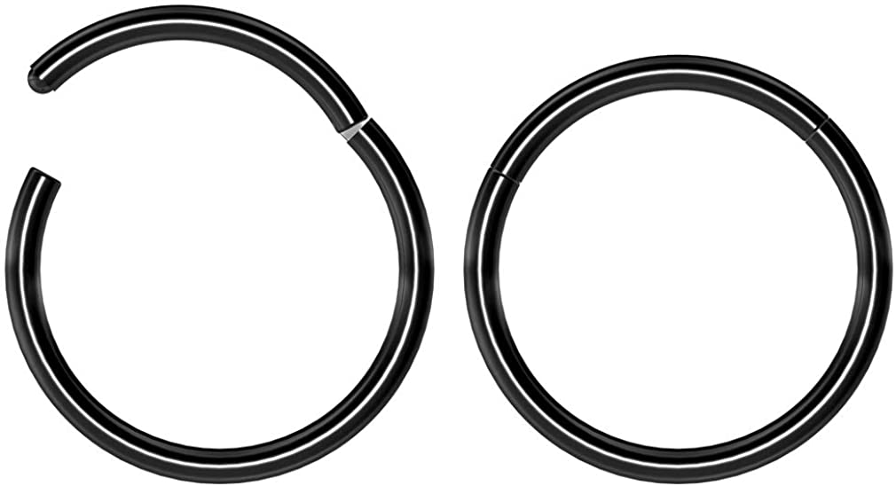 Bling Piercing 2pc 14g 16g 18g Hinged Clicker Captive Bead Ring 8mm 10mm 12mm Helix Earring Nose Hoop Rook Cartilage Tragus Lip Septum Forward Eyebrow Ear Lobe Nostril Rings Seamless Surgical Steel