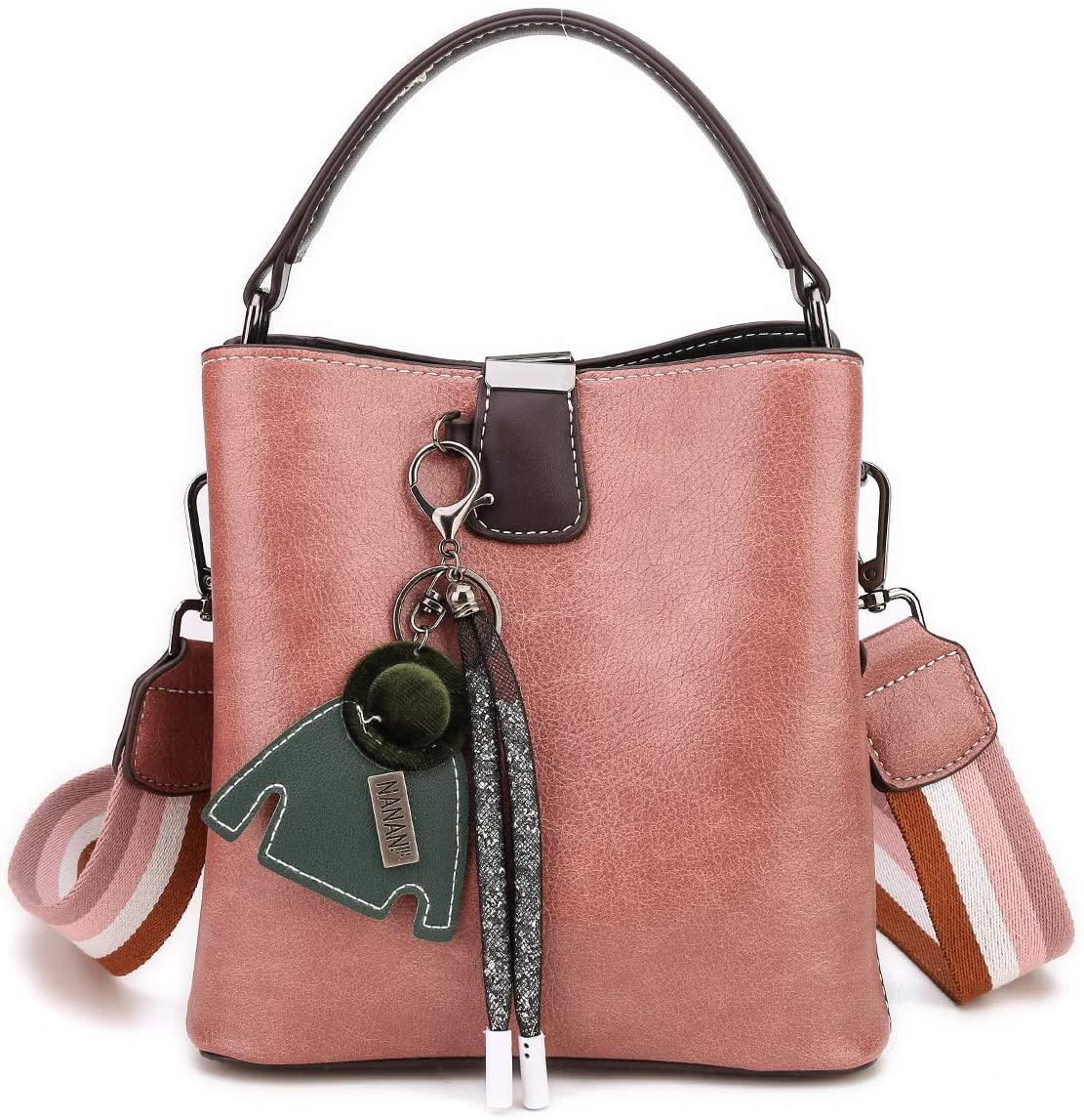 Crossbody Small Bucket Bag For Women Girls, Double Strap PU Leather Purse Vintage Shoulder Bag Handbag(Pink)