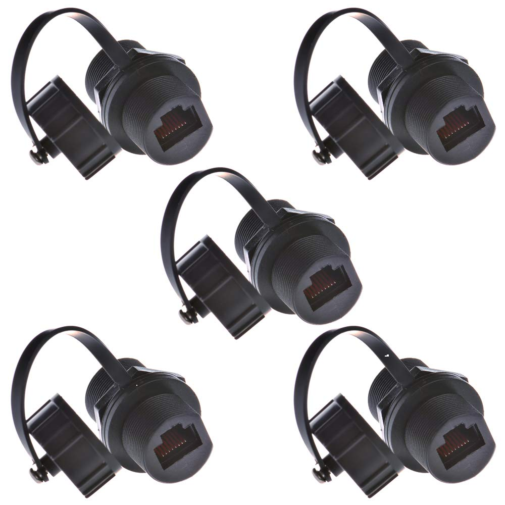 Anmbest 5PCS Panel Mounting RJ45 Waterproof Cat5/5e/6 8P8C Connector Ethernet LAN Cable Connector Double Head Coupler Adapter Female to Female with Waterproof/Dust Cap