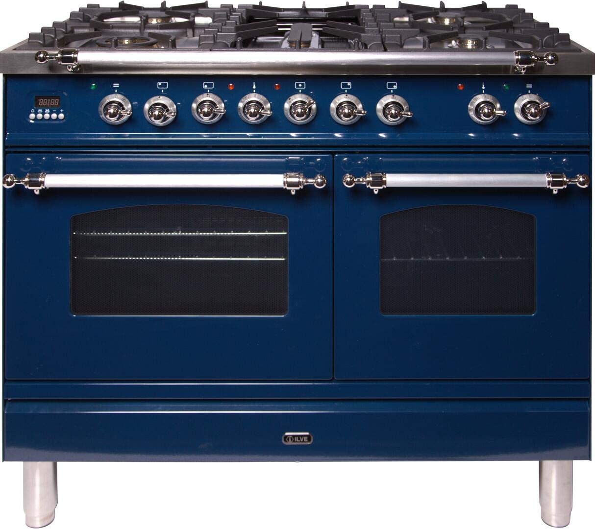 Ilve UPDN100FDMPBLXLP 40 Nostalgie Series Dual Fuel Liquid Propane Range with 5 Sealed Brass Burners 3.55 cu. ft. Total Capacity True Convection Oven Griddle with Chrome Trim in Blue