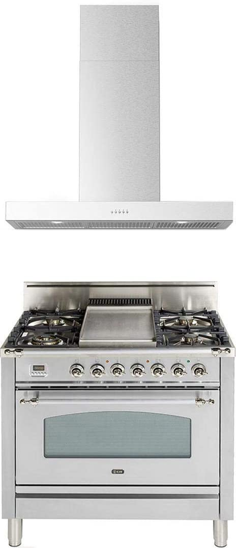 Ilve 2 Piece Kitchen Appliances Package with UPN90FDVGGIX 36 Gas Range and Forte BELLINA36 36 Wall Mount Chimney Style Hood, in Stainless Steel - Made in Italy