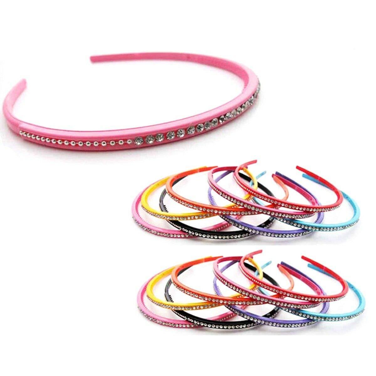 12pcs Rhinestone Crystal Plastic Headband Skinny Thin Hair Band Hairpin wrap Lot