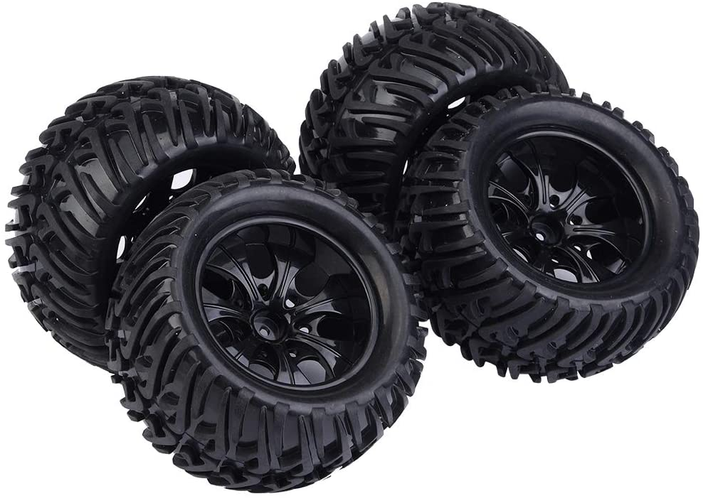 Yencoly RC Tire, 4Pcs RC Car Tyre, for 1/10 Scale RC Truck Car(Black 7-Hole Outline)