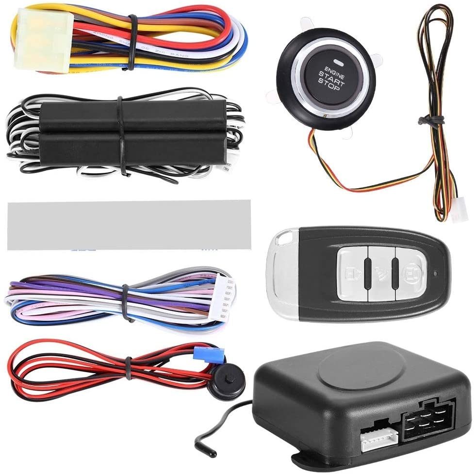 Beennex One-Way Remote Start Push Button Keyless Entry System Kit 12V Car Alarm System Engine