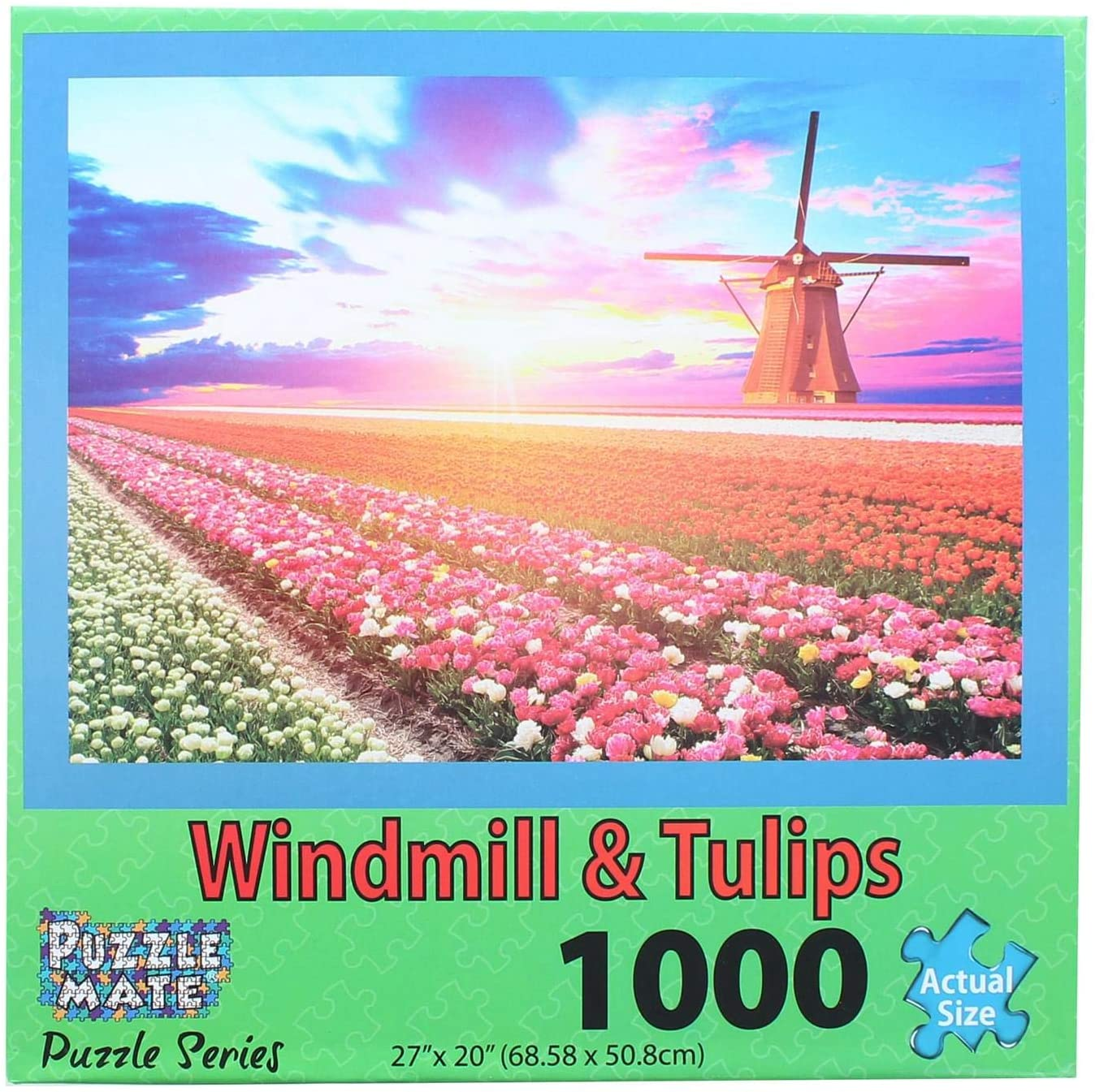 Puzzle Mate - Windmill & Tulips - 1000 Piece Jigsaw Puzzle