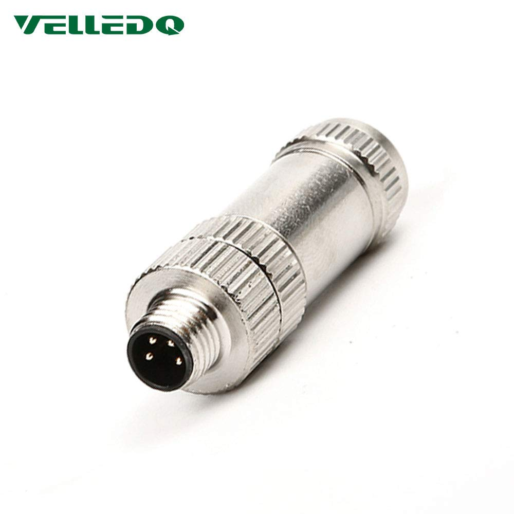 VELLEDQ Field-wireable M8 4-Pin Male Connector Shielded Sensor Plug Adapter Fittings