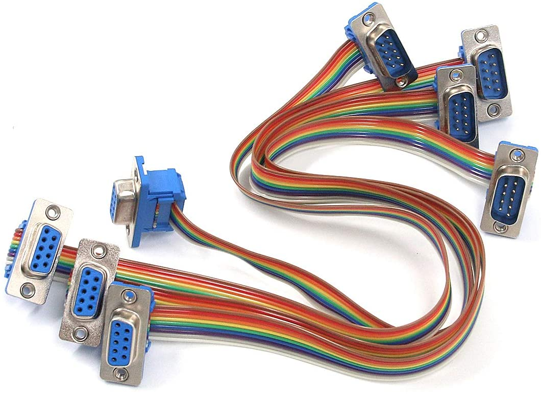 Antrader 4pcs 1 Foot 9 Pin RS-232 DB9 Male to Female Gender Changer Coupler Adapter Rainbow Serial Extension Cable