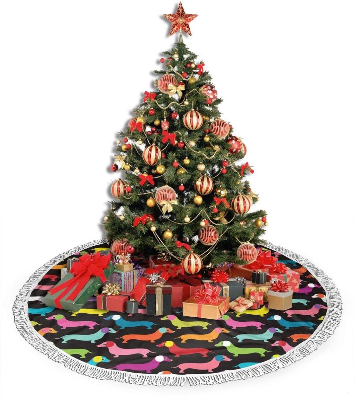 ZJBLHEQ Retro Dogs Dachshund Christmas Tree Skirt Decoration 48 Inch Round Xmas Tree Mat for Home Holiday Party Yard Ornaments