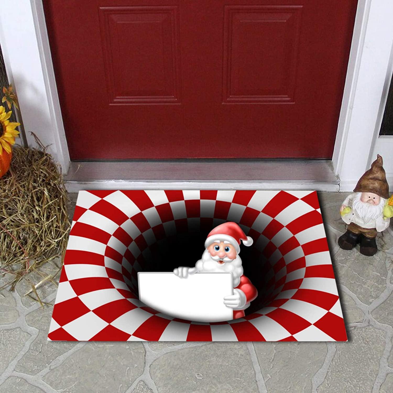 xilELA 2020 Christmas Decorations Hallucinatory Door Mat, Naked Eye 3D Visual Classic Xmas Red White Plaid Doormat Floor Soft Non-Slip Outdoor Doormats 15.75''x23.62''