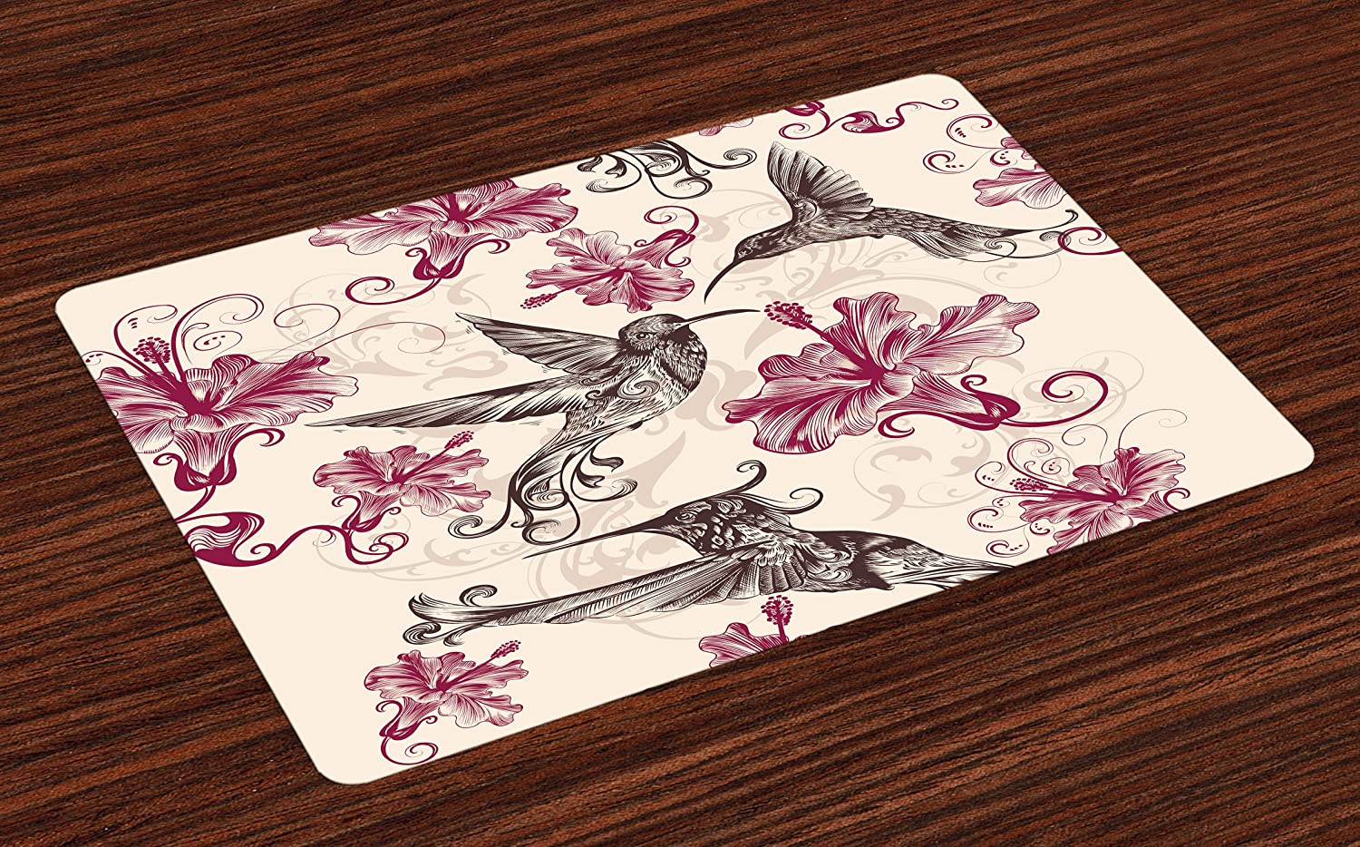 Lunarable Hummingbirds Place Mats Set of 4, Birds and Flowers Swirl Flourish Antique Old Ornament Pattern, Washable Fabric Placemats for Dining Room Kitchen Table Decor, Cream Maroon Black