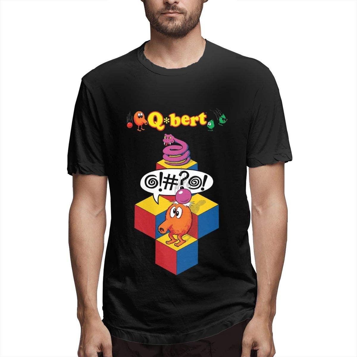 Caiondliil Men's Round Neck T Shirt Ultra Soft Q-Bert Design Tee