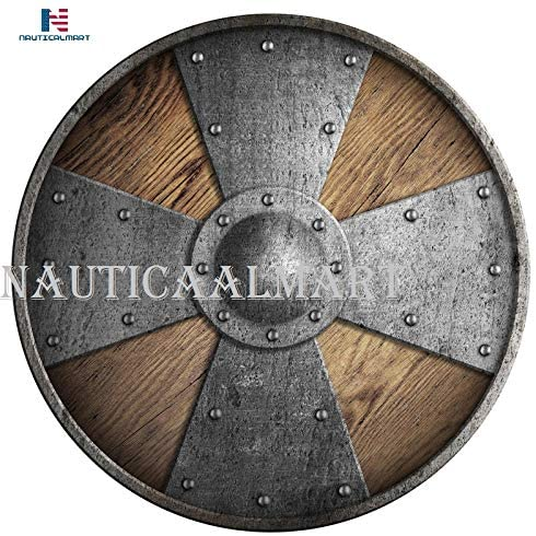 Nautical-Mart Wooden Medieval Round Shield with Cross Vikings Shield - SCA/LARP/Norse/Norway/Antique/Armor