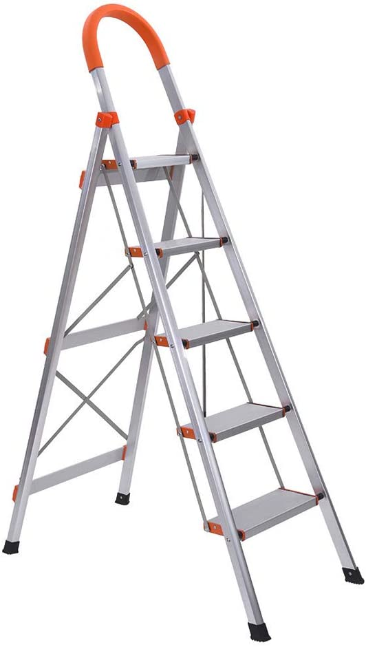 Mostbest 5 Step Multi-Use Ladder Folding Step Stool Stepladder with Handgrip Anti-Slip Sturdy and Wide Pedal Portable Steel Ladder 330lbs (5 Step)