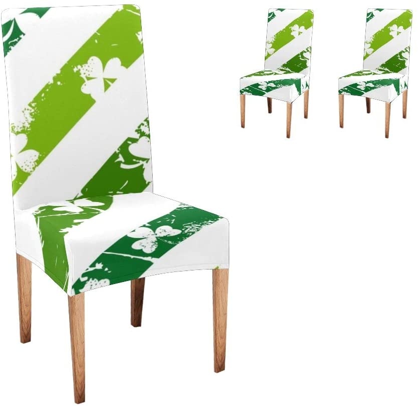 CUXWEOT Chair Covers for Dining Room,Custom Grunge Lines with Shamrocks Protector Comfort Soft Seat Covers Slipcovers for Party Decor (Set of 2)