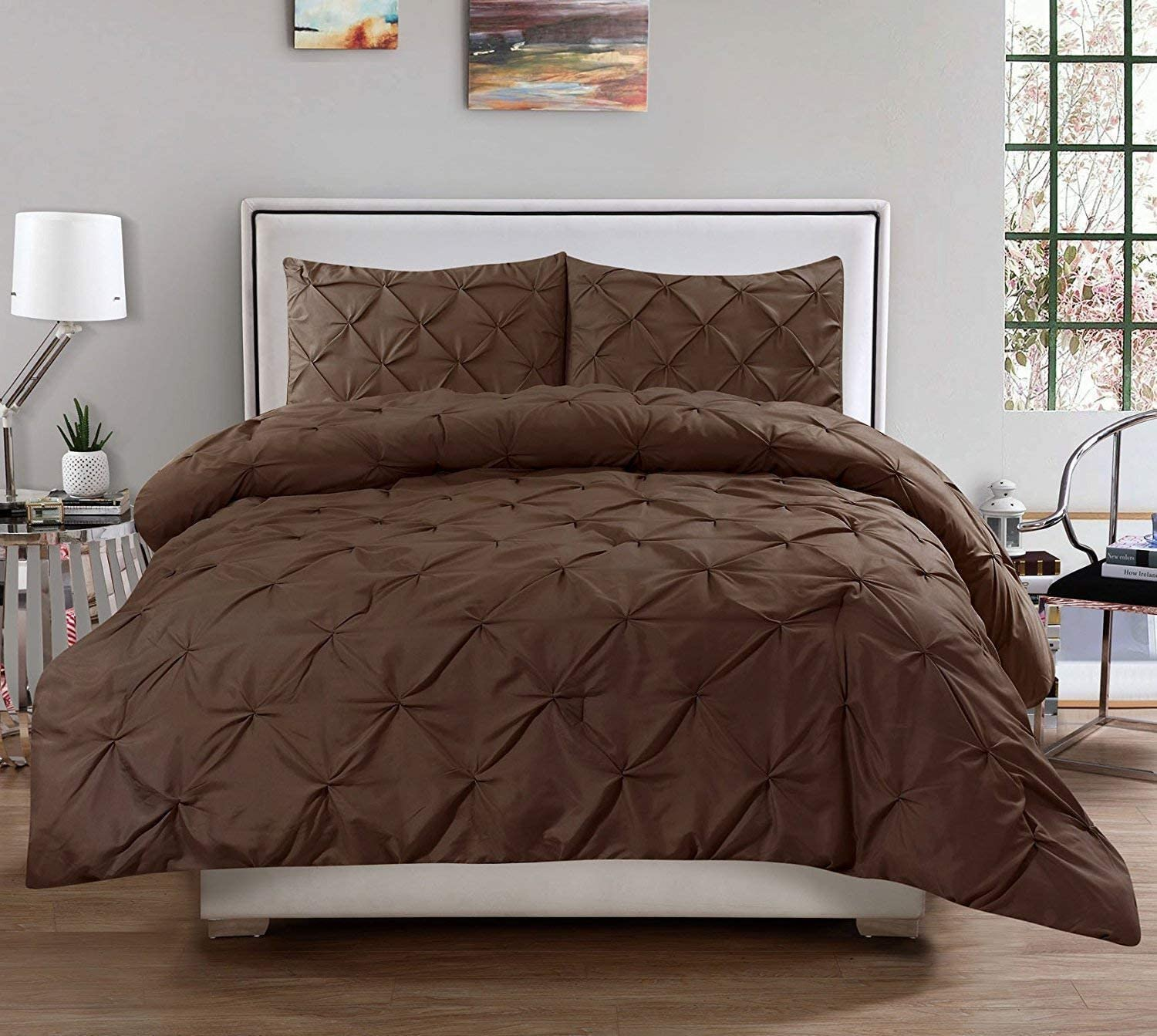 Pinch Pleated Duvet Cover Queen (B) 90'' x 90'' Size 3pc Duvet Cover Set with Zipper Closure & Corner Ties, Pintuck Decorative (100% Natural Cotton) 920 Thread Count - Brown Solid