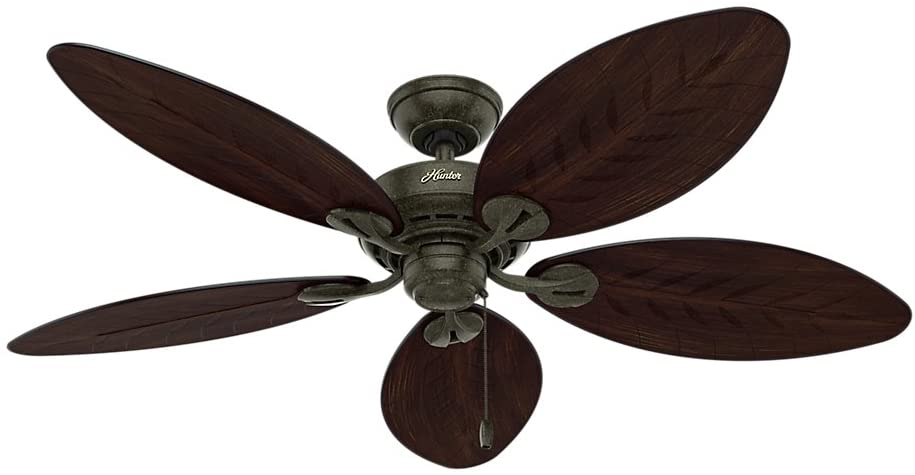 Hunter Fan Company Hunter 54098 Tropical/British Colonial 54``Ceiling Fan from Bayview collection in Bronze/Dark finish, Provencal Gold