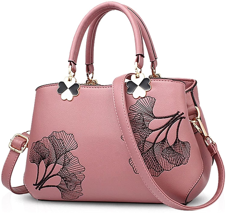 NICOLE&DORIS Women Flowers Top Handle Handbags Shoulder Bag Crossbody Bag Tote Ladies Satchel PU Leather