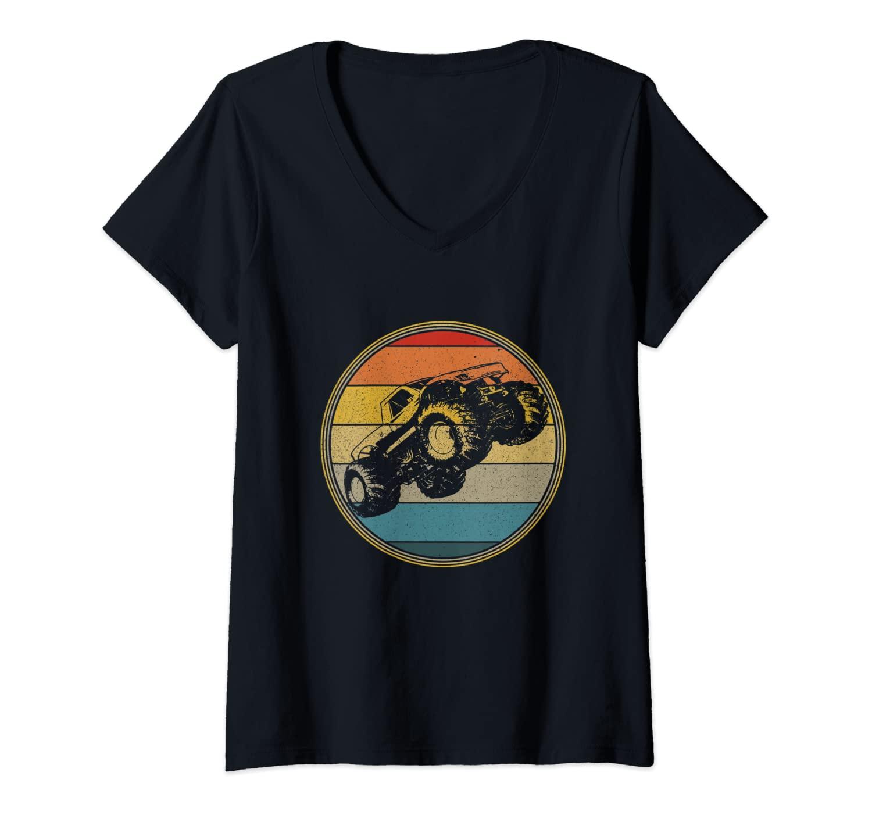 Womens Monster Truck Vintage Retro Style Sun Design V-Neck T-Shirt