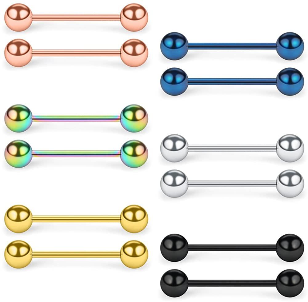 SCERRING 316L Stainless Steel Externally Threaded Nipple Bar Barbell Rings Piercing Retainer 16G 6-12PCS