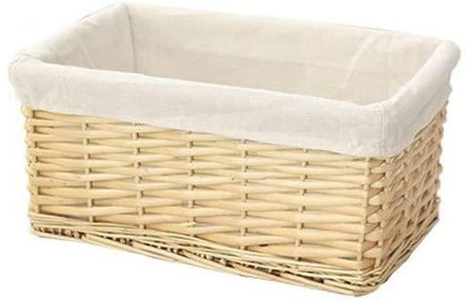 ERYI Bamboo Basket Woven Storage Basket, Rattan Fabric Tabletop Storage Basket, Bamboo Woven Basket, Decorative Shelf (Natural Color M)