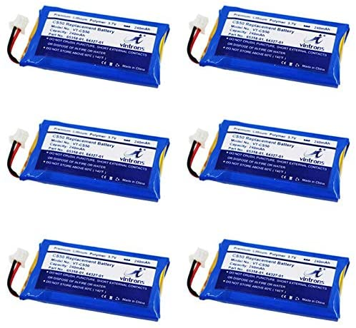 Plantronics CS50, CS55 Replacement Battery, VINTRONS 65358-01, 64327-01, 64399-01, Battery for Plantronics CS50, CS55, CS60, Savi 710, Savi W720, 65358-01, 64327-01, 64399-01, (Pack of 6)