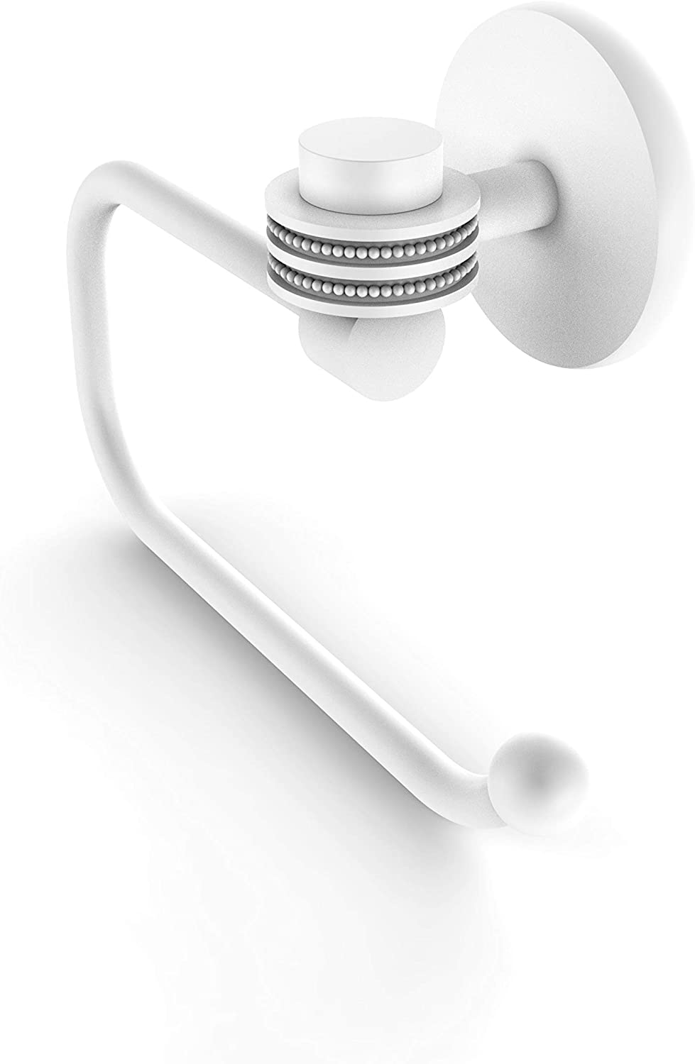 Allied Brass 7124ED Satellite Orbit One Collection Euro Style Tissue Dotted Accents Toilet Paper Holder, Matte White