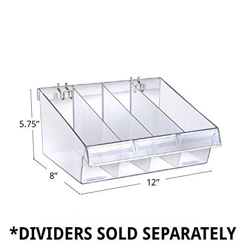 Plastic Clear Divider Bin 11.5W x 10D x 5.75H Inch w/ 2 Metal U Hooks -Box of 4