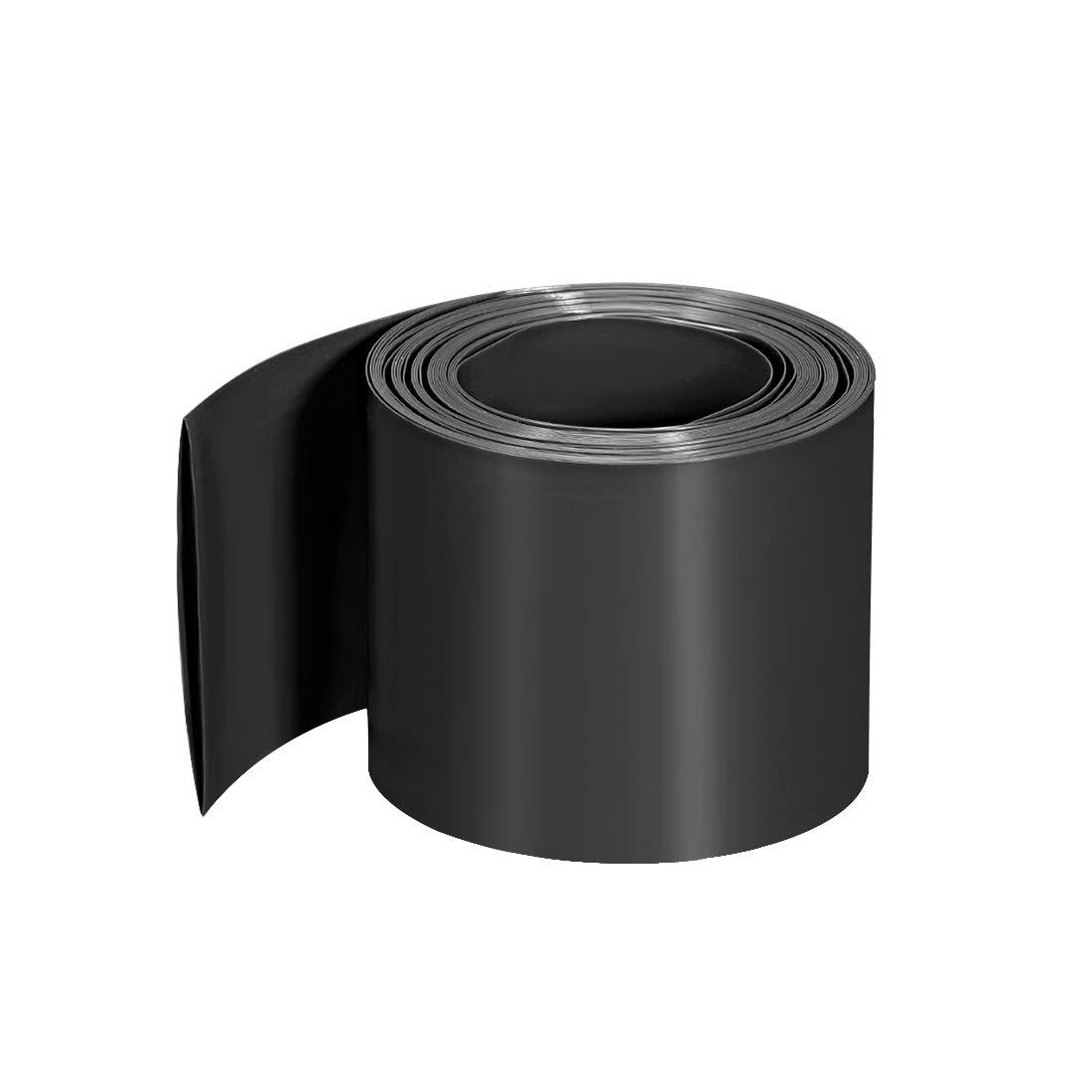 uxcell PVC Heat Shrink Tubing 60mm Flat Width Pre Cut Heat Shrink Wrap Tube for Three 18650 2m Length Black
