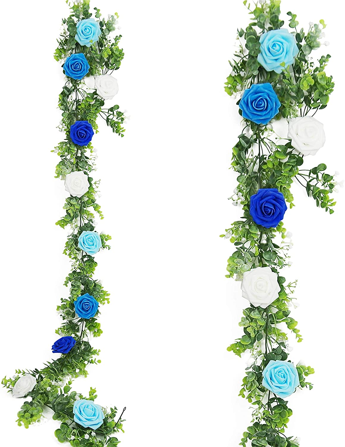 N/K Rose Flower Vine Garland, Artificial Flower Plants Hanging Rose Dusty Eucalyptus Garland for Wedding Party Garden Home Craft Art Décor 6.4 Ft(Blue #1)
