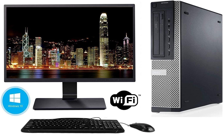 Dell Optiplex Desktop - Intel Core i5 2400 3.1GHz 8GB DDR3 RAM, 128GB SSD and Windows 10 Pro 64bit - WiFi Ready - New 24 Inch LED Monitor (Certified Refurbished)