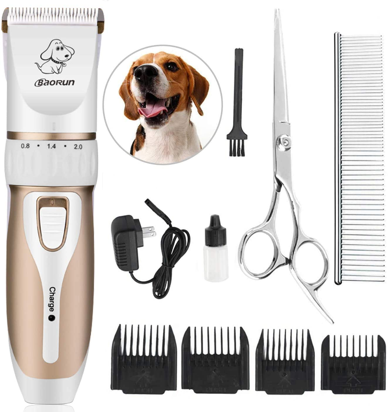 Maxshop Pet Grooming Clippers, Professional Quiet Rechargeable Cordless Pet Hair Clippers with Comb Guides Scissors Stainless Steel Blades Kit for Dogs Cats,Pets Long Short Hair Shave