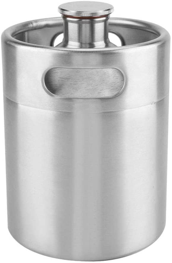 Pressurized Beer Mini Keg Growler System Portable Mini Keg Dispenser Kegerator Kit Stainless Steel Barrel Holds Beer for Craft Beer, Draft and Homebrew(2L)