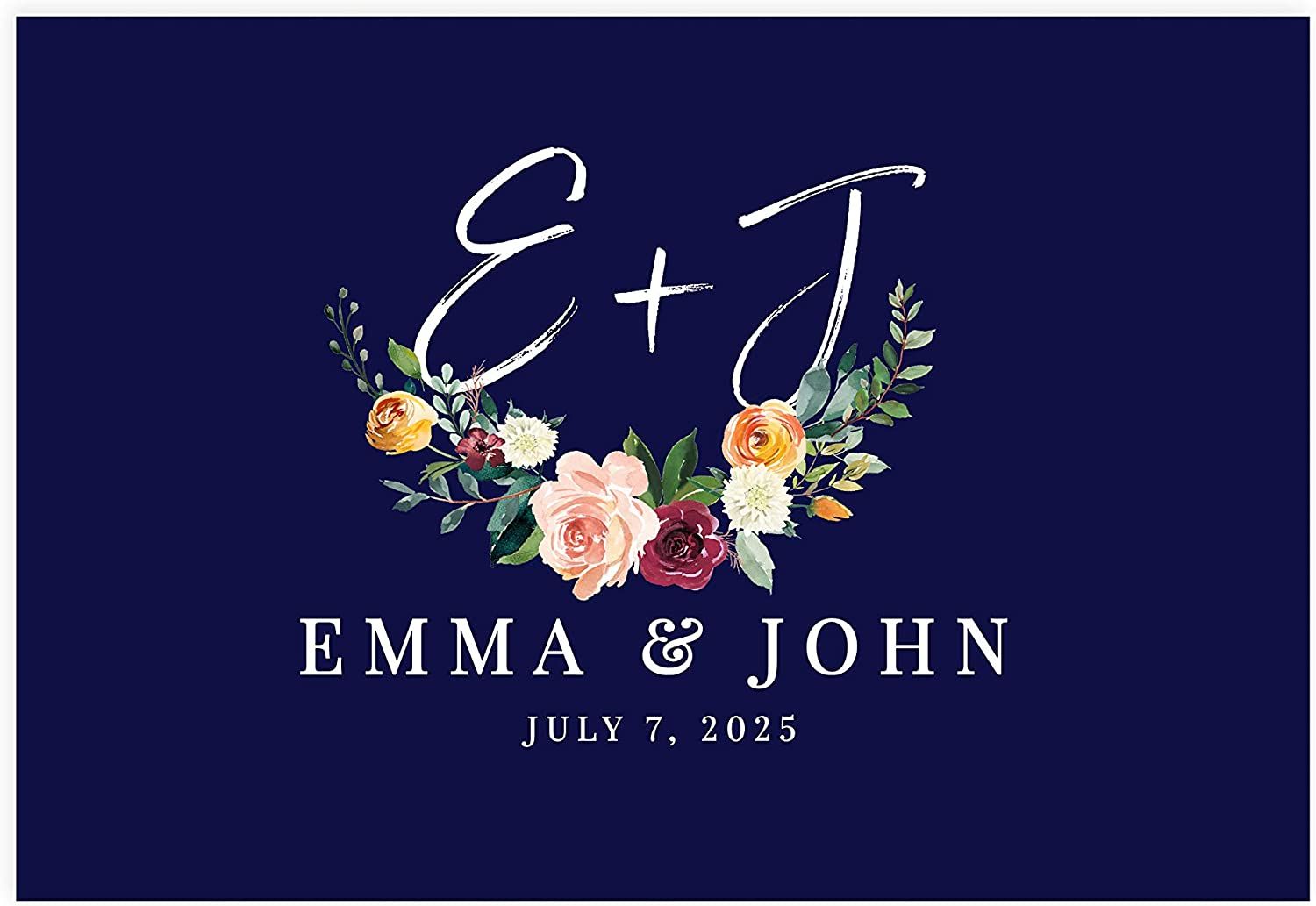 Andaz Press Custom Personalized Disposable Paper Placemats, 12 x 18 Inch, Set of 25, Navy Floral Custom, Tableware, Dining, Tabletop, Table Setting for Wedding, Bridal Shower