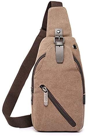 Men's Large-capacity Multifunctional Canvas Casual Outdoor Messenger Bag Chest Bag Single Shoulder Backpack Satchel (Brown)