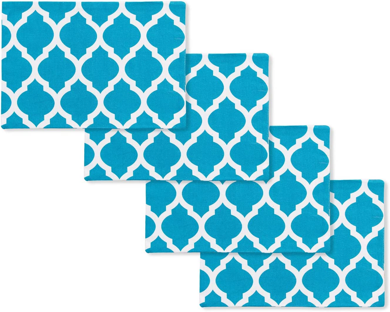 NATUS WEAVER Set of 4, 2 Side Cotton Placemats Heat Resistant Dining Table Place Mats for Kitchen Table, 12 x 18 inches, Geometric Trellis Chain Print,Teal Blue